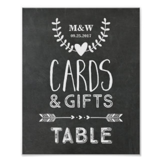 Wedding Gift Table Sign Chalkboard Hearts Arrows
