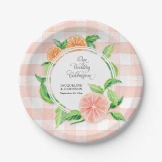 Wedding Gingham Farm Pink Striped Citrus Orange Paper Plate