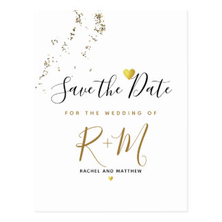 wedding glitter + initials save the date on white postcard