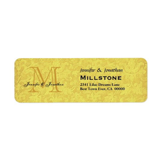 Wedding Gold and Black Monogram Wedding Return Address Label