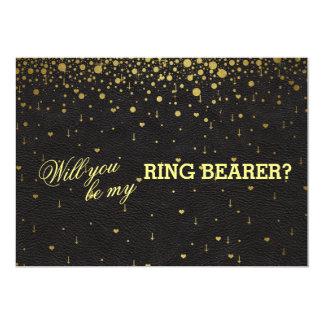 Wedding Gold Confetti Ring Bearer Invitation