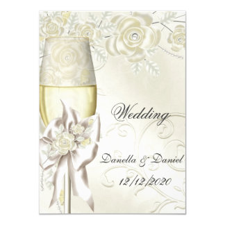 Wedding Gold Cream Pearl Floral Roses 2 11 Cm X 16 Cm Invitation Card