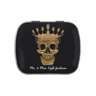 Wedding Gold Skull Ebony Jelly Belly Tins