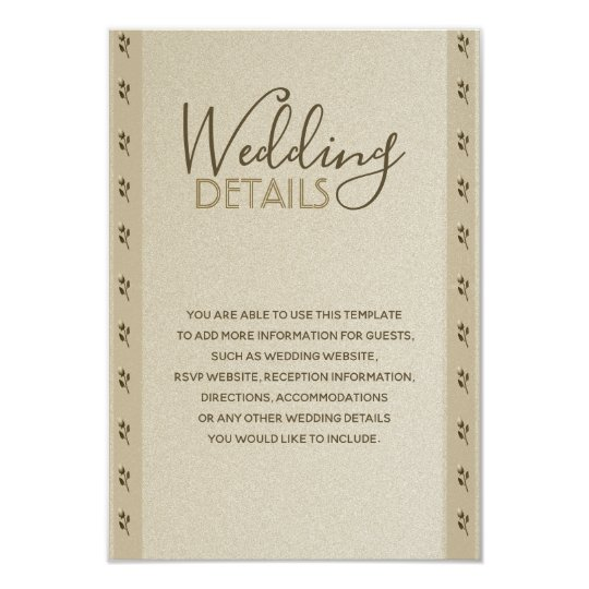 Wedding Golden Floral Elegant Sandstone Classy Card