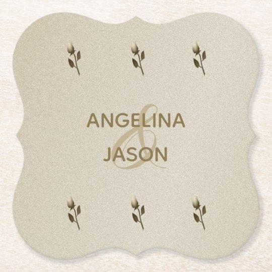 Wedding Golden Floral Elegant Sandstone Classy Paper Coaster