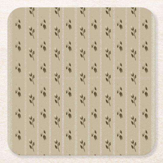 Wedding Golden Floral Elegant Sandstone Classy Square Paper Coaster