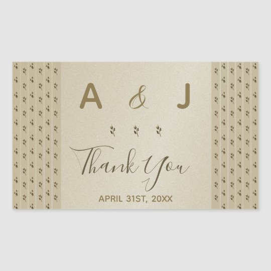 Wedding Golden Floral Elegant Sandstone Thank You Rectangular Sticker