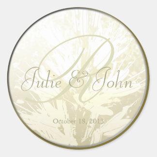 Wedding Golden Flowers Monogram - Sticker 2
