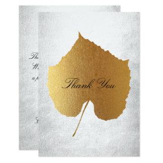 Wedding Golden Leaf Silver Thank You Card