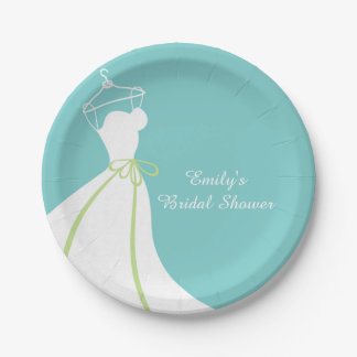 Wedding Gown, Blue, Bridal Shower Paper Plate