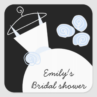 Wedding Gown Blue 'Bridal Shower' square black Square Sticker