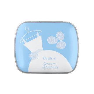Wedding Gown Blue 'Bride and Groom' Jelly Belly Candy Tin