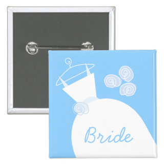 Wedding Gown Blue 'Bride' black 15 Cm Square Badge