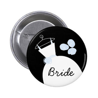 Wedding Gown Blue 'Bride' button black