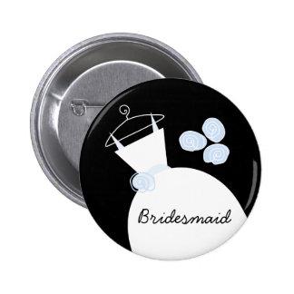 Wedding Gown Blue 'Bridesmaid' button black