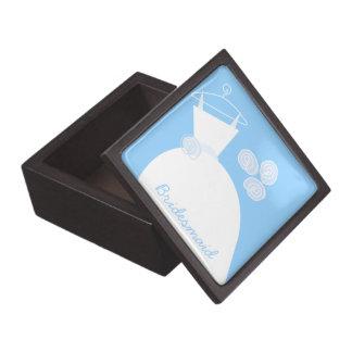 Wedding Gown Blue 'Bridesmaid' premium Premium Trinket Boxes
