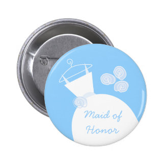 Wedding Gown Blue Maid of Honor button