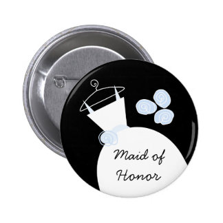 Wedding Gown Blue 'Maid of Honor' button black