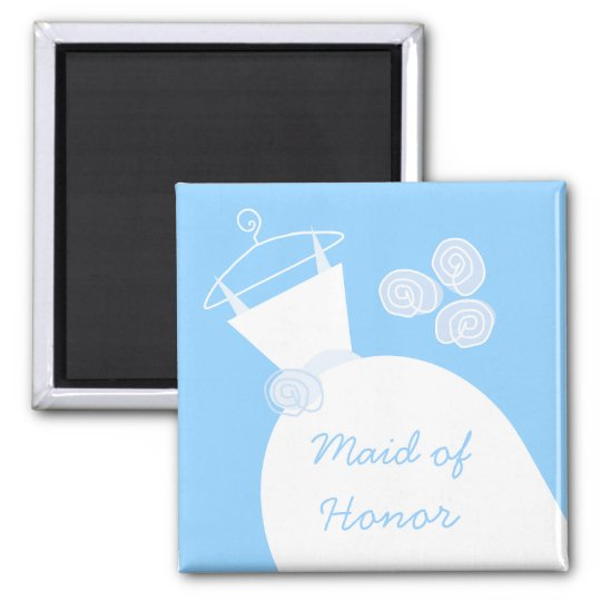 Wedding Gown Blue 'Maid of Honour' Magnet