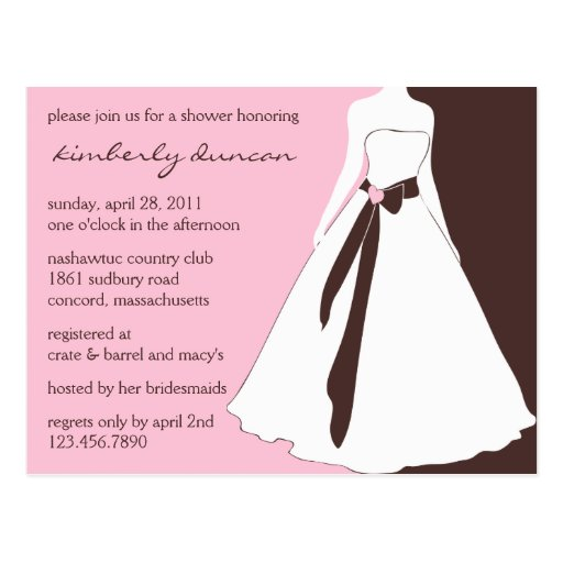 Wedding Gown Bridal Shower Invite Post Cards