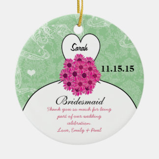 Wedding Gown Bridesmaid Wedding- You Choose Color Ceramic Ornament
