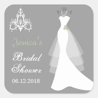 Wedding gown, chandelier Bridal Shower Sticker