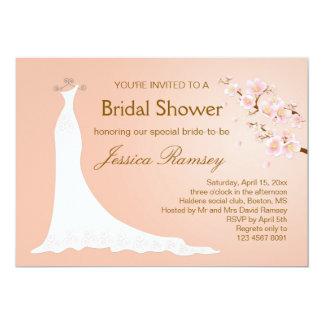 Wedding gown, cherry blossom Bridal Shower 13 Cm X 18 Cm Invitation Card