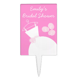 Wedding Gown Pink 'Bridal Shower' Cake Topper