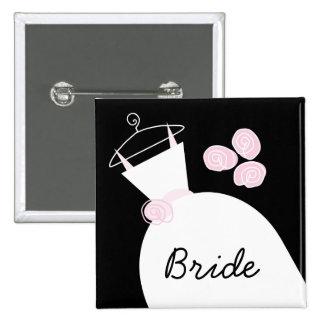 Wedding Gown Pink 'Bride' black square 15 Cm Square Badge