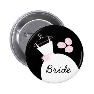 Wedding Gown Pink Bride button black