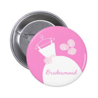 Wedding Gown Pink Bridesmaid button