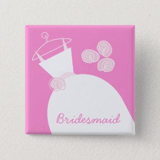 Wedding Gown Pink 'Bridesmaid' square 15 Cm Square Badge
