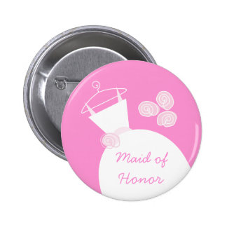 Wedding Gown Pink Maid of Honor button