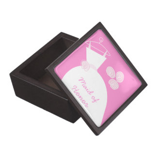 Wedding Gown Pink 'Maid of Honor' premium Premium Trinket Boxes
