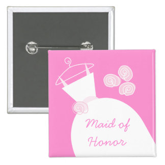 Wedding Gown Pink 'Maid of Honor' square Pin