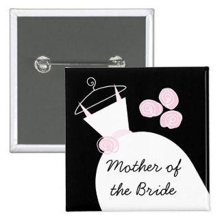Wedding Gown Pink Mother of the Bride black square 15 Cm Square Badge