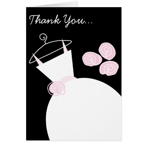 Wedding Gown Pink 'Thank You Bridesmaid' black Card