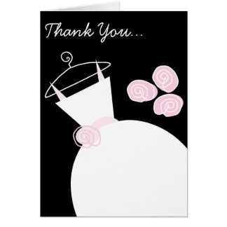Wedding Gown Pink 'Thank You Bridesmaid' black Greeting Card