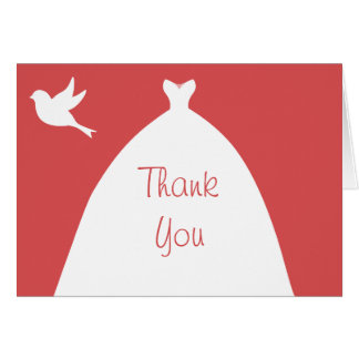Wedding Gown Pink Thank You with White Dove Card
