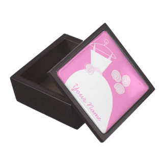 Wedding Gown Pink 'Your Name' premium Premium Keepsake Boxes