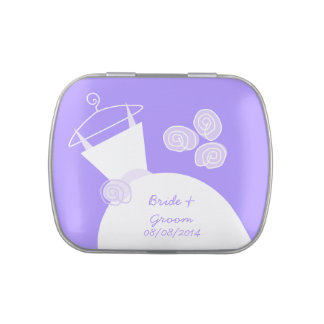 Wedding Gown Purple 'Bride and Groom' Jelly Belly Candy Tins