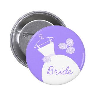 Wedding Gown Purple 'Bride' button