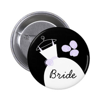 Wedding Gown Purple 'Bride' button black
