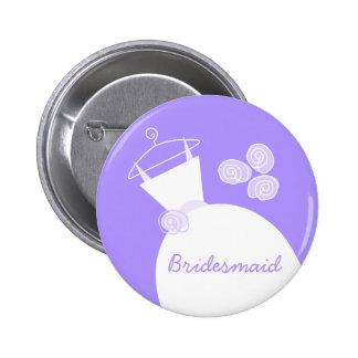 Wedding Gown Purple Bridesmaid button