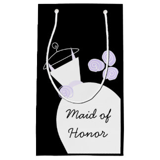 Wedding Gown Purple Maid of Honor black Small Gift Bag