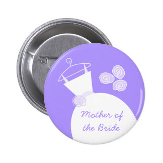 Wedding Gown Purple 'Mother of the Bride' 6 Cm Round Badge