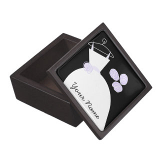 Wedding Gown Purple 'Your Name' black premium Premium Trinket Box