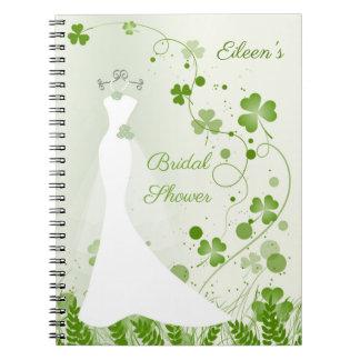 Wedding gown, shamrock in a meadow Bridal Shower Notebook