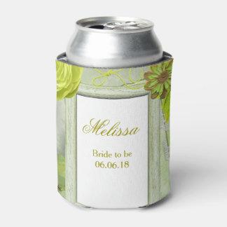 Wedding Green Floral Custom Can Cooler