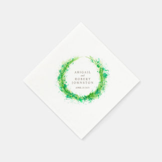 Wedding greenery wreath watercolor art napkins disposable napkin